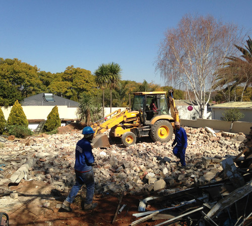 House down, removing foundations and getting ready to start blending the rubble with good, compactable soil